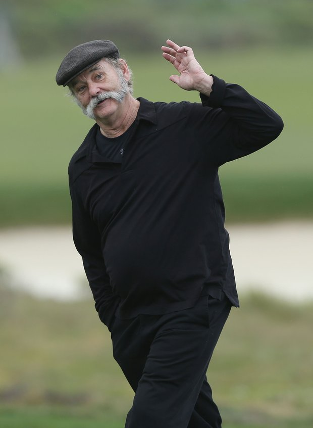Actor Bill Murray walks up a fairway during the first round of the AT&T Pebble Beach National Pro-Am at the Monterey Peninsula Country Club.
