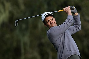 Actor Josh Duhamel watches a shot during the first round of the AT&T Pebble Beach National Pro-Am at the Monterey Peninsula Country Club.
