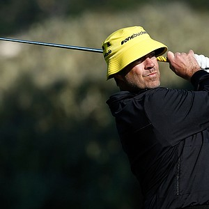 TV personality Carson Daly watches a shot on the 17th hole during the second round of the AT&T Pebble Beach National Pro-Am at Pebble Beach Golf Links.