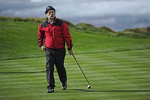 Bill Murray walks off the 4th tee during the second round of the AT&T Pebble Beach National Pro-Am at Spyglass Hill.