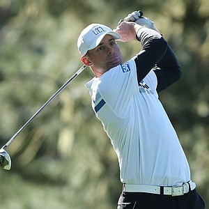 Tennis great Andy Roddick hits a shot during the second round of the AT&T Pebble Beach National Pro-Am at Spyglass Hill.