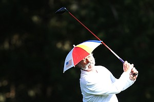 Actor Bill Murray hits a tee shot during the second round of the AT&T Pebble Beach National Pro-Am at Spyglass Hill.