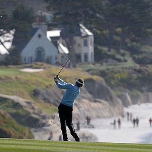 Brandt Snedeker watches his approach shot on the ninth hole during the final round of the AT&T Pebble Beach National Pro-Am at Pebble Beach Golf Links.
