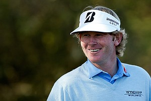 Brandt Snedeker waits on the second tee during the final round of the AT&T Pebble Beach National Pro-Am at Pebble Beach Golf Links.