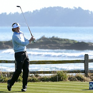 Brandt Snedeker hits his tee shot on the 18th hole during the final round of the AT&T Pebble Beach National Pro-Am at Pebble Beach Golf Links.