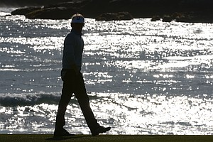 Brandt Snedeker walks on the 18th hole during the final round of the AT&T Pebble Beach National Pro-Am at Pebble Beach Golf Links.