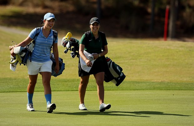 Jackie Chang of North Carolina and Maribel Lopez Porras of Tulane at No. 9 during the UCF Challenge at Red Tail Golf Club in Sorrento, Fla.