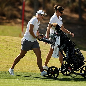 Missouri's Alina Rogers with assistant Mindy Coyle during the UCF Challenge at Red Tail Golf Club in Sorrento, Fla.
