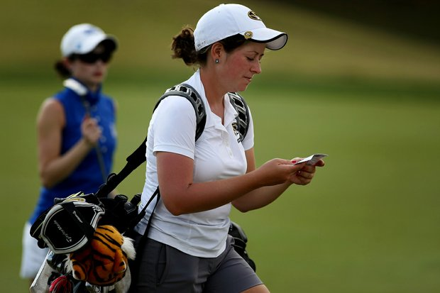 Taylor Gohn of Missouri looks over the scorecard during the UCF Challenge at Red Tail Golf Club in Sorrento, Fla.