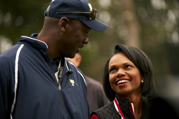 Former NBA player Michael Jordan and former U.S. Secretary of State Condoleezza Rice during Saturday Fourball Matches at Harding Park GC San Francisco, Calif.
