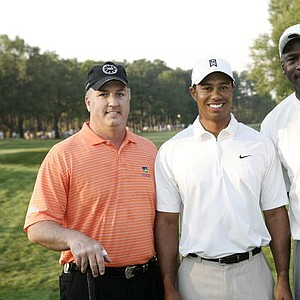 Skipper Beck (a Mercedes-Benz dealer from Charlotte), Tiger Woods and Michael Jordan, during the Pro-Am prior to the 2007 Wachovia Championship held at Quail Hollow CC.