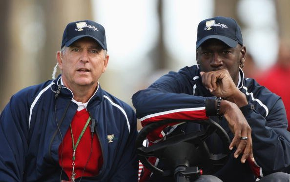 Assistant USA Captain Jay Haas and Michael Jordan USA Team Assistant look on during the Day One foursome matches of The 2009 Presidents Cup.