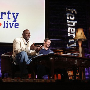 Michael Jordan and Olympic champion Michael Phelps and David Feherty as seen at Golf Channel's 'Feherty Live From the Ryder Cup'
