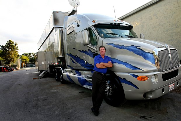 Steve Elkington and his 1200 square foot truck he takes from tournament to tournament on the Champions Tour.