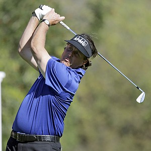 Phil MIckelson drives on the fourth tee during the first round of the Northern Trust Open at Riviera Country Club in the Pacific Palisades area of Los Angeles Thursday, Feb. 14, 2013.
