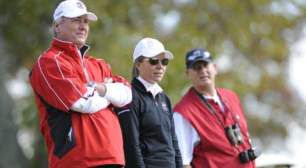 South Carolina's coaching duo of Puggy Blackmon and Kalen Harris.