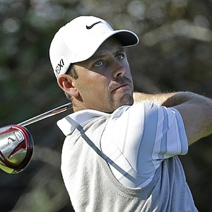Charl Schwartzel drives on the 11th tee in the second round of the Northern Trust Open at Riviera Country Club in the Pacific Palisades area of Los Angeles Friday, Feb. 15, 2013.