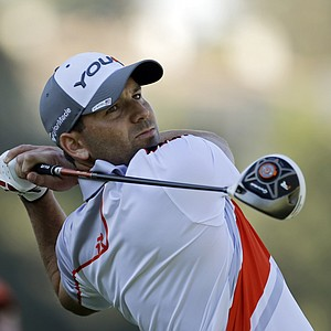 Sergio Garcia drives on the ninth hole in the second round of the Northern Trust Open at Riviera Country Club in the Pacific Palisades area of Los Angeles Friday, Feb. 15, 2013.