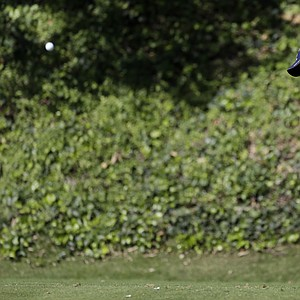 Luke Donald drives on the sixth tee in the second round of the Northern Trust Open at Riviera Country Club in the Pacific Palisades area of Los Angeles Friday, Feb. 15, 2013.