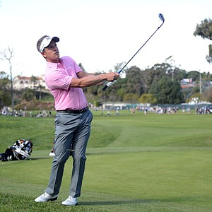 Luke Donald of England chips to the first green during the third round of the Northern Trust Open at the Riviera Country Club on February 16, 2013 in Pacific Palisades, Calif.