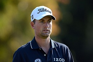 Webb Simpson leaves the second tee during the third round of the Northern Trust Open.