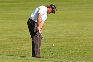 Phil Mickelson chips onto the green on the third hole during the third round of the Northern Trust Open at Riviera CC.