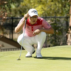 Sang-Moon Bae of South Korea lines up a putt on the fifth hole during the third round of the Northern Trust Open at Riviera CC on February 16, 2013 in Pacific Palisades, Calif.