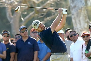 Ryan Moore hits his tee shot on the 18th hole during the third round of the Northern Trust Open at Riviera CC.