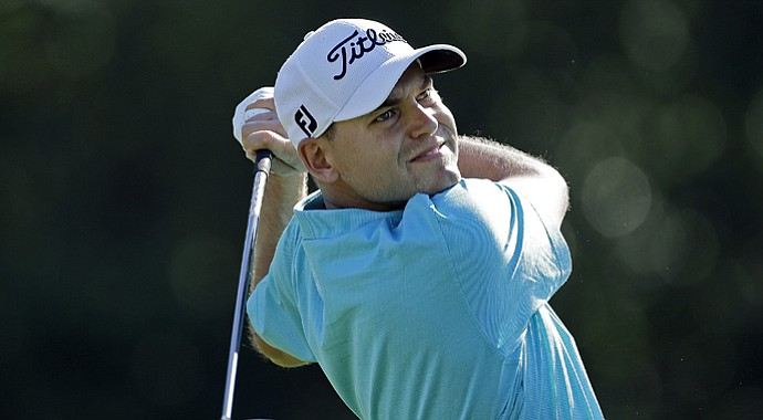 Bill Haas drives on the second tee in the third round of the Northern Trust Open at Riviera Country Club in Pacific Palisades, Calif., on Saturday, Feb. 16, 2013.