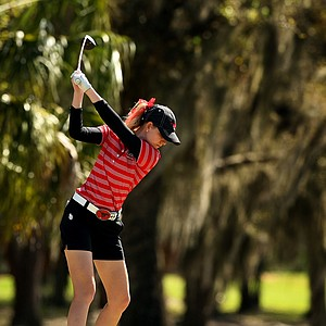 Southern Methodist University's Jenny Haglund at No. 16 during the Central District tournament at River Wilderness in Parrish.