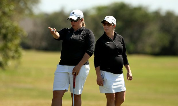 Vanderbilt's Lauren Stratton with assistant coach Holly Clark during the Central District tournament.