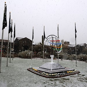 Snow continues to fall in front of the clubhouse as snow and rain caused play to be suspended due to weather during the first round of the WGC-Accenture Match Play Championship.