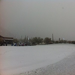 A lot of snow has fallen at Dove Mountain.