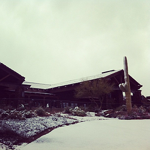 The clubhouse at Dove Mountain covered in snow.