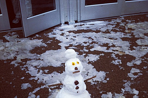 Someone made a snowman in Tucson, Ariz. after the snow fell at the WGC-Accenture Match Play Championship.