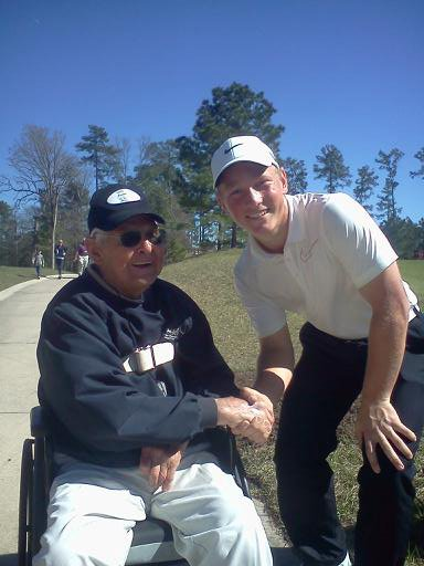 Brad Dalke with 100-year-old fan, Chester, at the 2013 HP Boys Championship in The Woodlands, Texas.