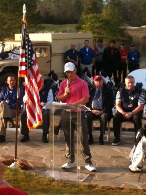 Brad Dalke gives a speech following his victory at the 2013 HP Boys Championship in The Woodlands, Texas.