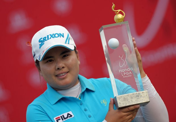 Inbee Park holds the winner's trophy after the final round of Honda LPGA Thailand.