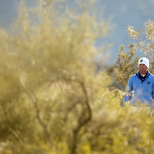 Matt Kuchar looks for his ball after he hit his drive on the 10th hole during the semifinal round of the WGC-Accenture Match Play Championship.
