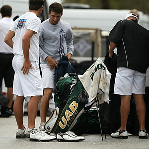 University of Alabama - Birmingham packs up after the tournament was called in the final round due to weather during the John Hayt Invitational at Sawgrass Country Club.