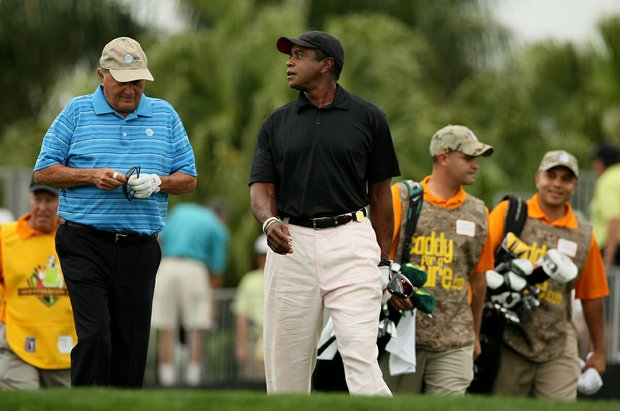 Raymond Floyd and former football player Ahmad Rashad during the Pro-Am at the Honda Classic.
