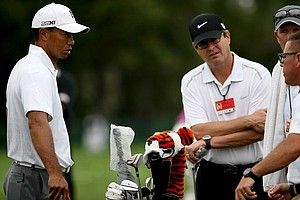 Tiger Woods on the range before the Honda Classic.