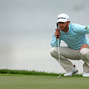 Dustin Johnson lines up a putt on No. 5 during the first round of the Honda Classic at PGA National Resort and Spa.