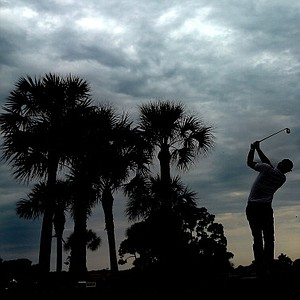 Keegan Bradley hits his tee shot on the fifth hole during the first round of the Honda Classic at PGA National Resort and Spa.