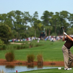 Lee Westwood hits his tee shot on the sixth hole during the first round of the Honda Classic at PGA National Resort and Spa on Feb. 28.