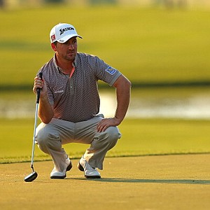 Graeme McDowell, of Northern Ireland, lines up a putt on the eighth hole during the first round of the Honda Classic at PGA National Resort and Spa on Feb. 28 in Palm Beach Gardens, Fla.