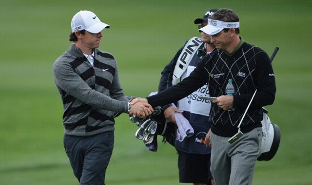 Rory McIlroy (left), the world&#39;s top-ranked player and the defending champion at the Honda Classic, tells playing competitor Mark Wilson that he has had enough Friday on their ninth hole, No. 18 at PGA National&#39;s Champion Course, during the second round.
