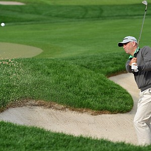 Stewart Cink plays a bunker shot during the second round of the Honda Classic.