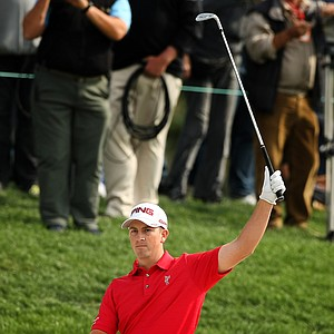 Michael Thompson reacts after he holes out at No. 7 during the Honda Classic on Saturday.