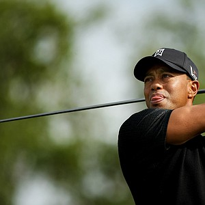 Tiger Woods tees off at No. 12 during the Honda Classic on Saturday.